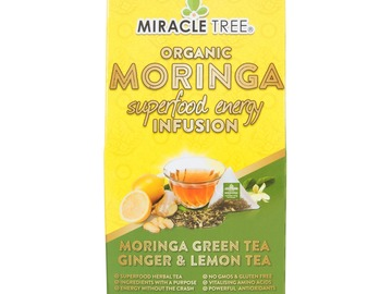 Coffee & Tea : Organic Moringa Energy Infusion, GreenTea/Ginger/Lemon, 16Ct. x 5