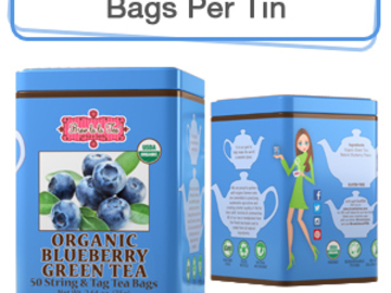 Coffee & Tea : Organic Blueberry Green Tea, 50 bags