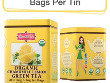 Coffee & Tea : Organic Chamomile Lemon Green Tea, 50 bags