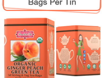 Coffee & Tea : Organic Ginger Peach Green Tea, 50 bags