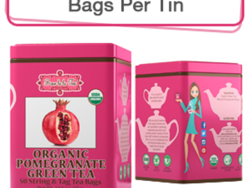 Coffee & Tea : Organic Pomegranate Green Tea, 50 bags
