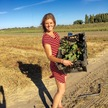 Chef anja lee with fresh produce at farm